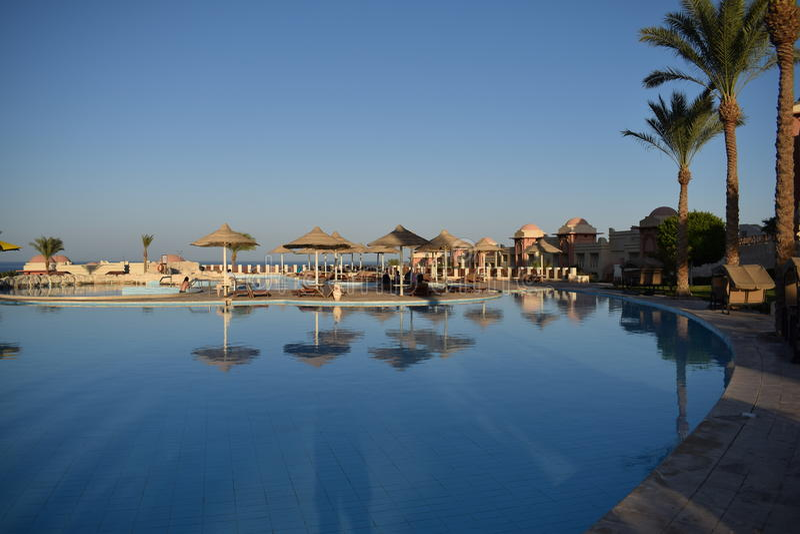Centro turístico tropical en Egipto fotos de archivo libres de regalías