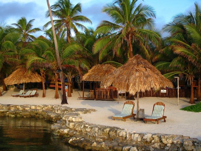 Centro turístico tropical en luz de la mañana imagenes de archivo