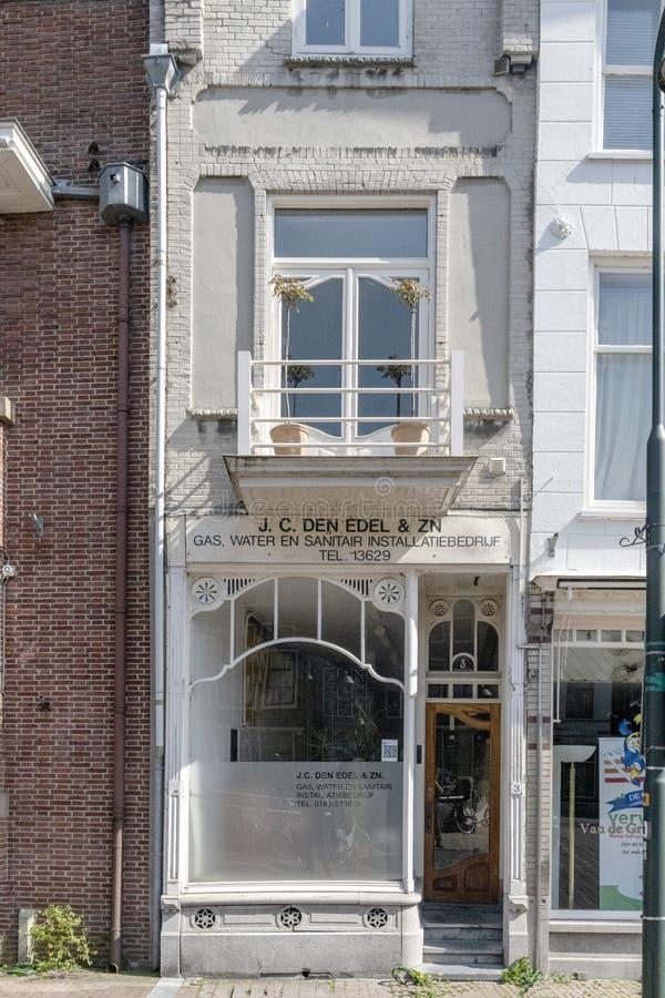 Centro urbano di architettura Negozio vuoto dell'Olanda immagine stock
