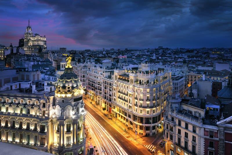 Centro urbano di Madrid, Gran Vis Spain fotografia stock