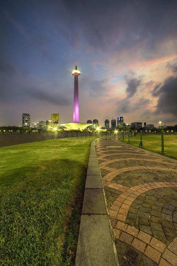 Centro urbano di Monas Jakarta Indonesia fotografia stock