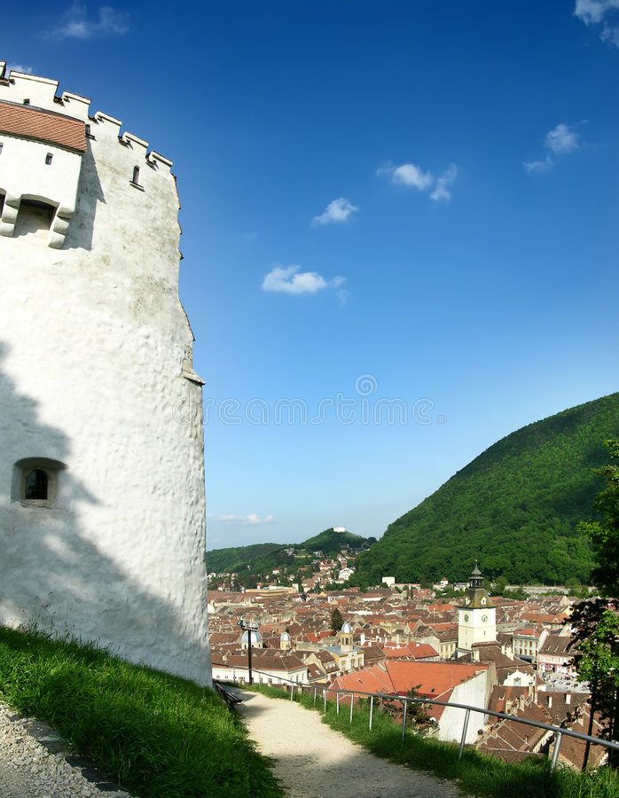 Centro velho de Brasov, Romania foto de stock royalty free