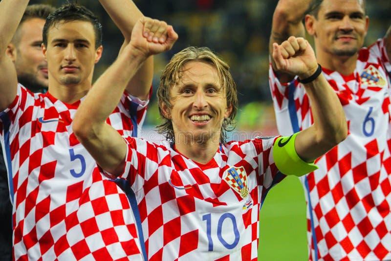 Centrocampista della squadra nazionale di Croazia Luka Modric immagine stock libera da diritti