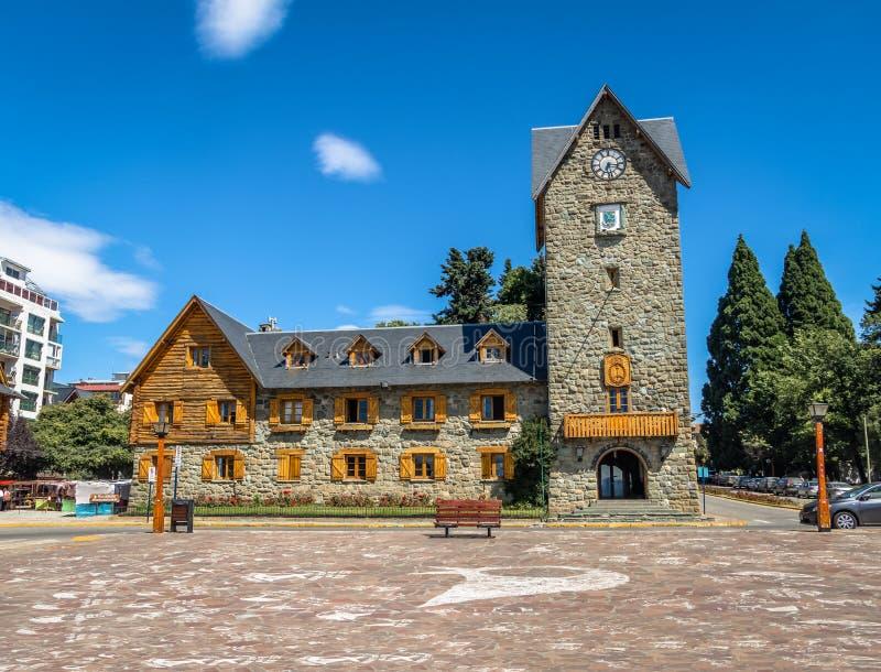 Centrum Administracyjno-kulturalne i główny placu w w centrum Bariloche mieście - San Carlos De Bariloche, Argentyna obrazy royalty free