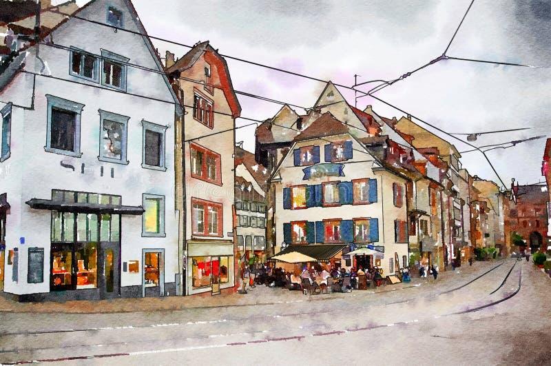 Centrum Basel, Szwajcaria ilustracji