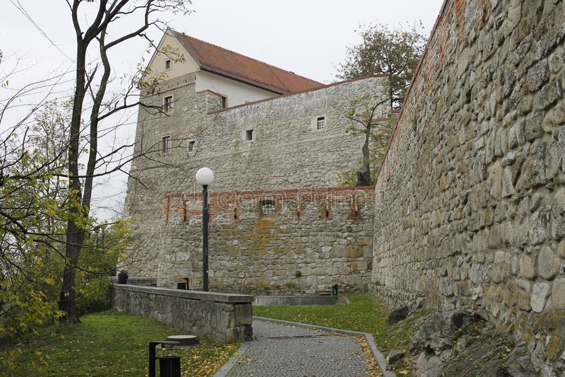 Centrum of Bratislava Old Town, Bratislava castle. Bratislava, Slovakia. November 5, 2018. Bratislava castle  in city centrum of Bratislava, Slovakia royalty free stock photography