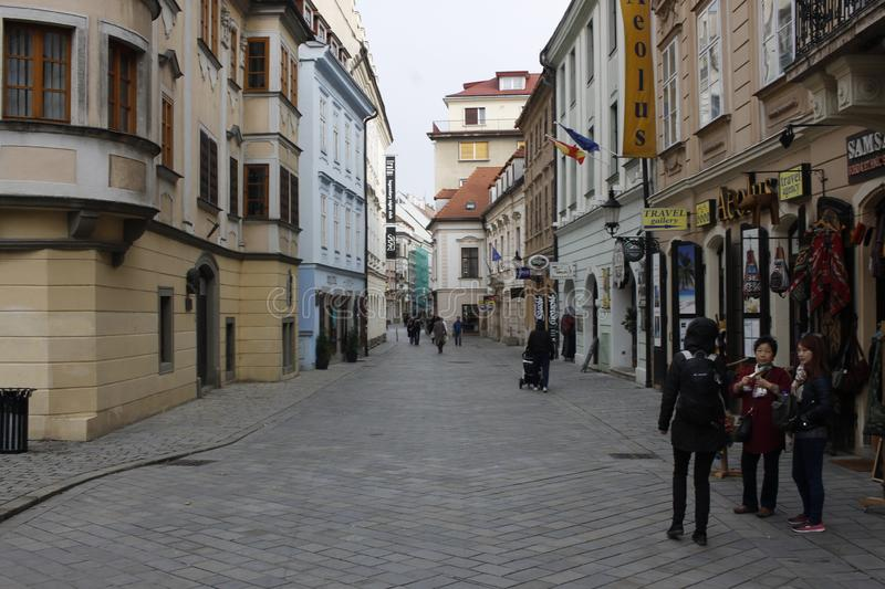 Centrum of Bratislava Old Town, capital of slovakia. Bratislava, Slovakia. November 5, 2017. In centrum of Bratislava Old Town royalty free stock photography