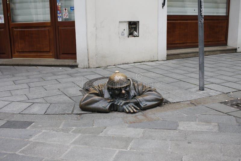 In centrum of Bratislava Old Town. Bratislava, Slovakia. November 5, 2017. In centrum of Bratislava Old Town royalty free stock image