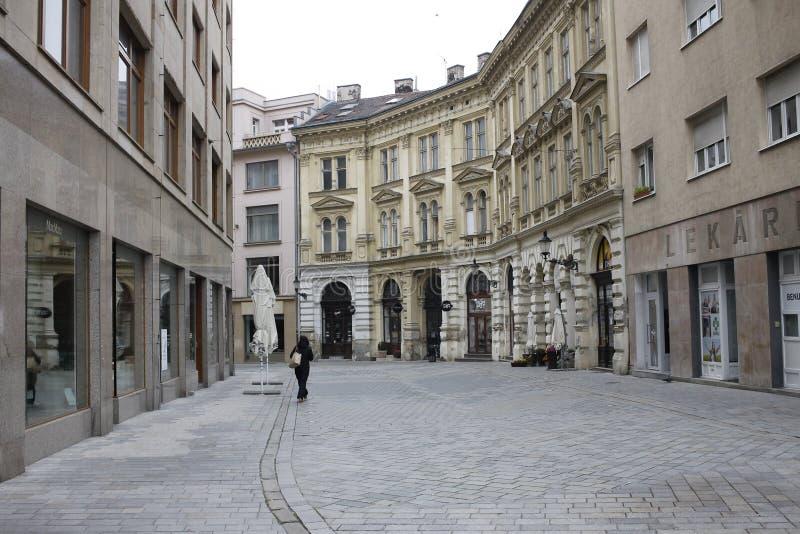 In centrum of Bratislava Old Town. Bratislava, Slovakia. November 5, 2017. In centrum of Bratislava Old Town stock photo
