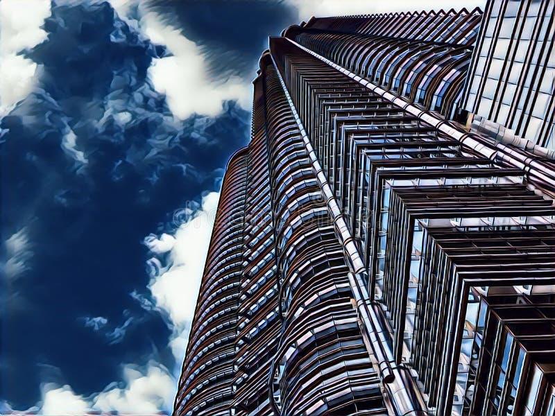 Centrum finansowe drapacz chmur na burzowego nieba tła cyfrowej ilustraci Wysoki nowożytny budynku widok spod spodu ilustracja wektor