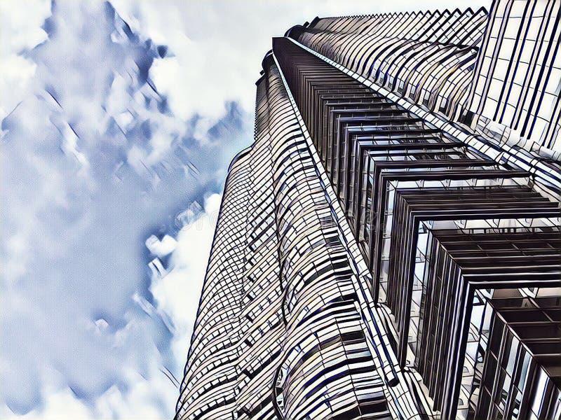 Centrum finansowe drapacza chmur zatarta cyfrowa ilustracja Wysoki nowożytny budynku widok spod spodu obrazy stock