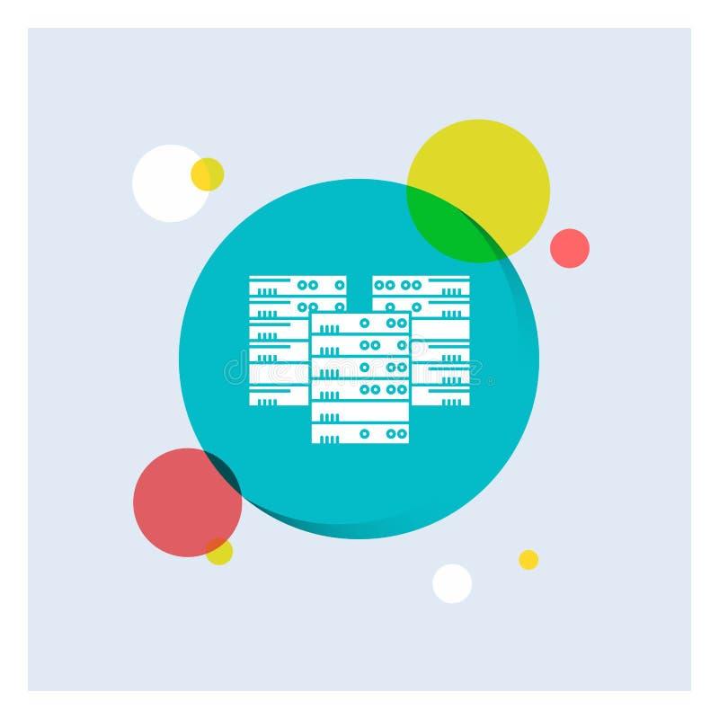 Centrum, centrum, gegevens, database, Achtergrond van de het Pictogram kleurrijke Cirkel van server de Witte Glyph vector illustratie