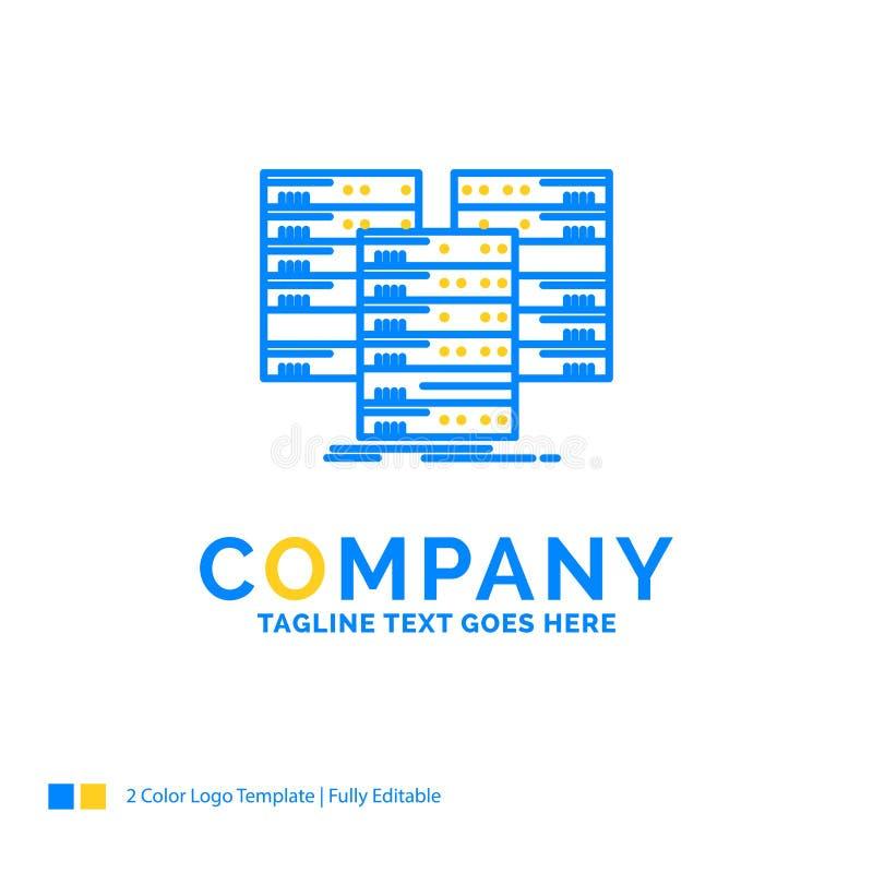Centrum, centrum, gegevens, database, server Blauw Geel Bedrijfsembleem stock illustratie
