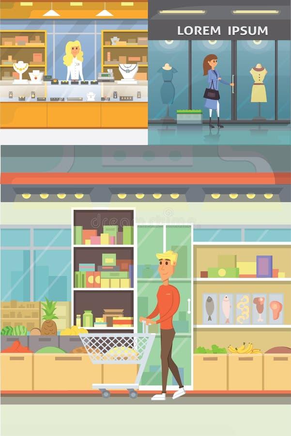 Centrum Handlowe, butików pokoje i sklep jubilerski, Supermarketów wnętrza inkasowi Ludzie w centrum handlowym Ustawia kupienie ilustracja wektor