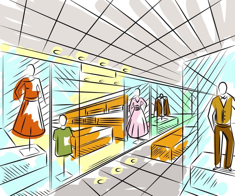 Centrum handlowe z modą przechuje Wewnętrzny projekt w nakreślenie stylu royalty ilustracja