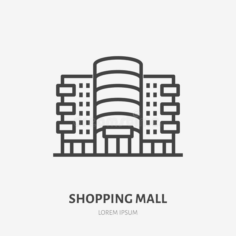 Centrum handlowego mieszkania linii ikona Wektoru cienki znak sklep, sklep, handlowy budynku czynszu logo Supermarket powierzchow royalty ilustracja