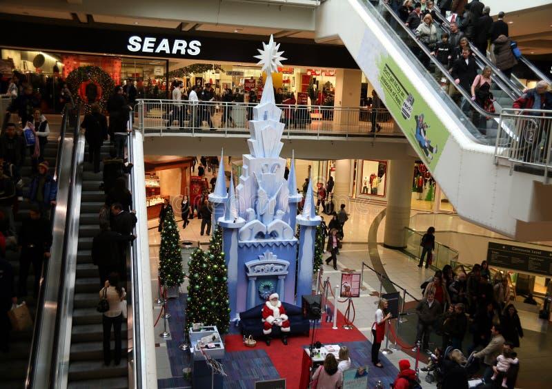 centrum handlowego Santa zakupy obraz stock