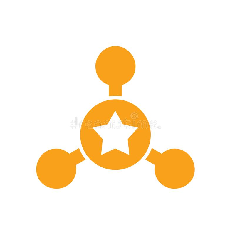 Centrum i gwiazdy loga projekt, Podłączeniowy ikony pojęcie ilustracja wektor