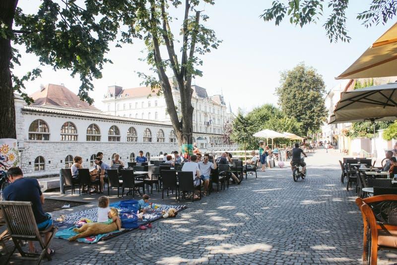 centrum Ljubljana obraz stock