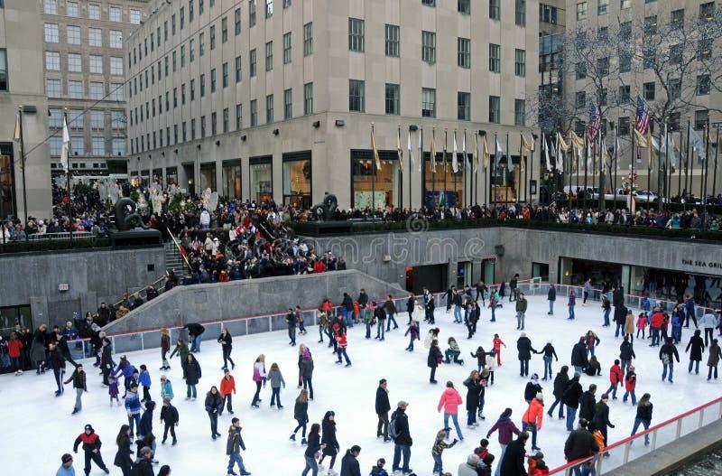centrum lodowego lodowiska Rockefeller łyżwiarstwo zdjęcia royalty free