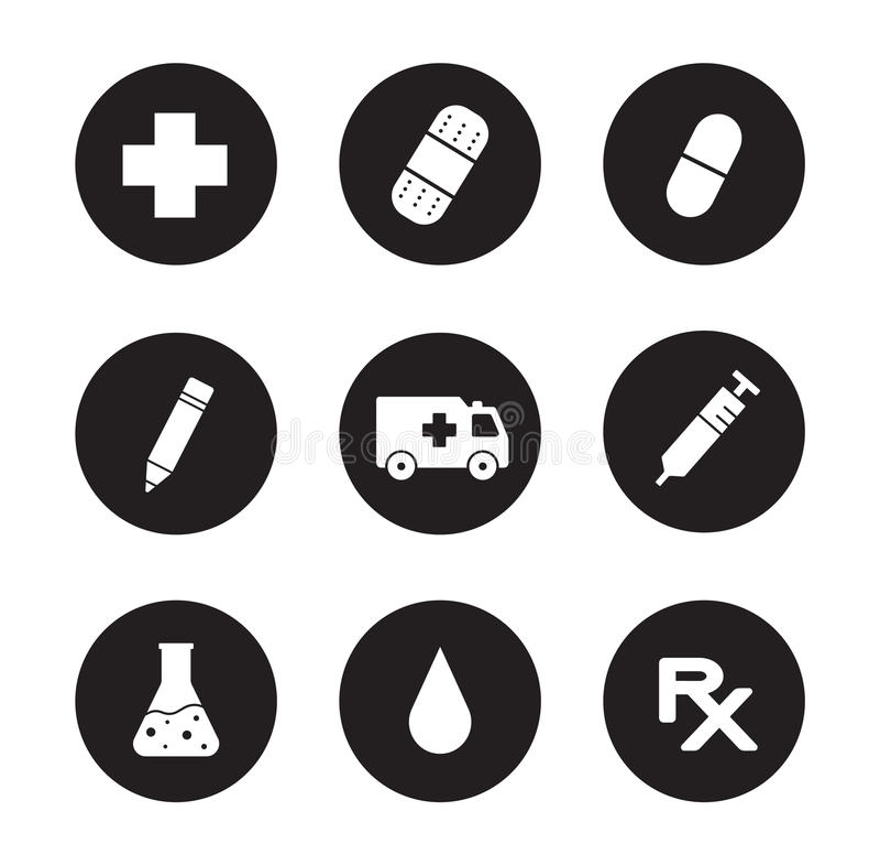 Centrum Medyczne czarne ikony ustawiać ilustracja wektor