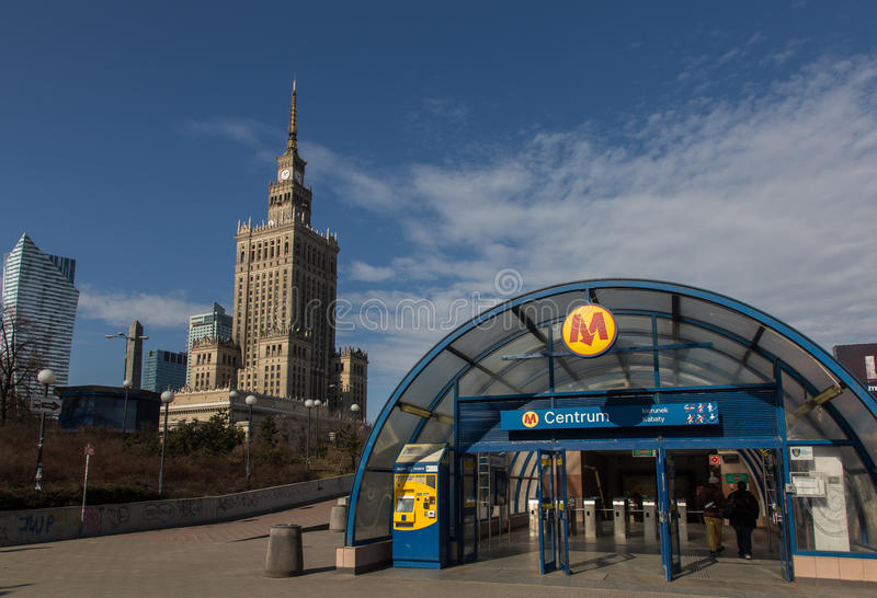 Centrum Metro station in Warsaw. Centrum Metro station and Palace of Culture and Science in Warsaw, Poland stock photo