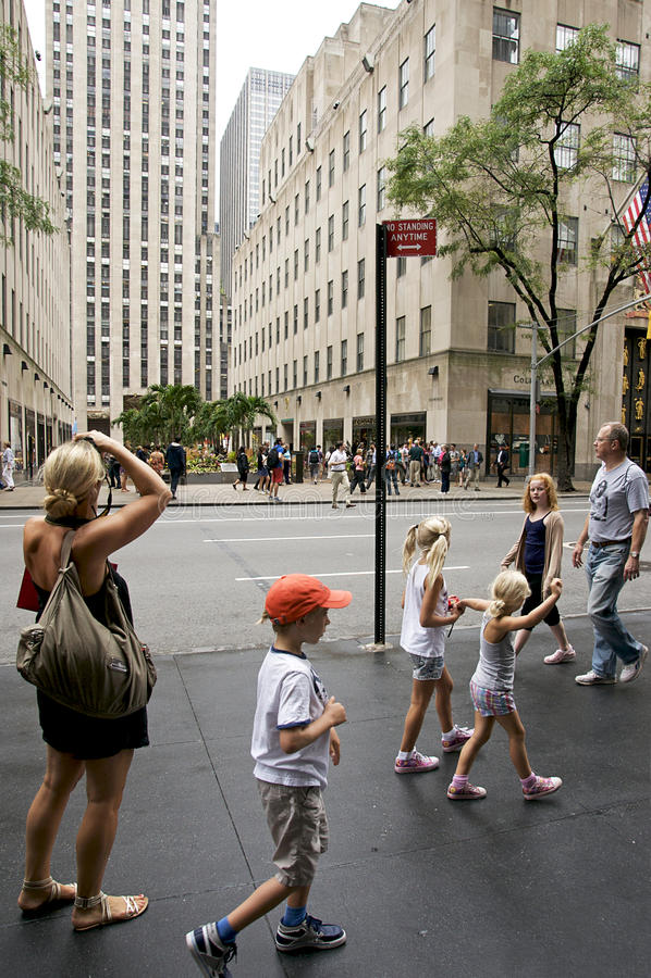 centrum miasta nowi Rockefeller turyści York zdjęcie royalty free