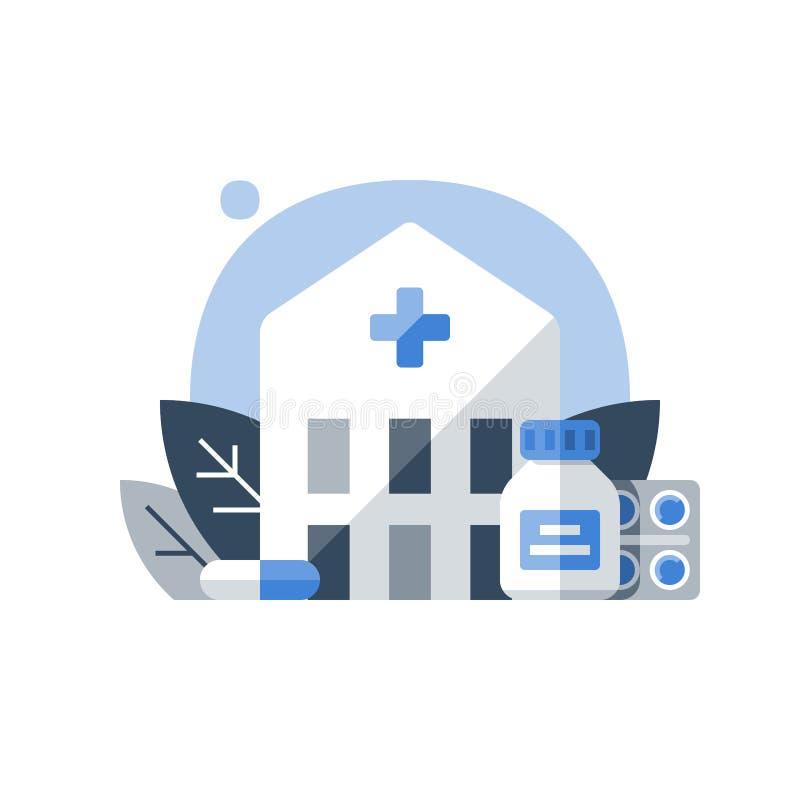 Centrum rehabilitacji, medycyna i opieka zdrowotna, lekarstwa pojęcie, stacjonarna terapia, choroby traktowanie, hospicjuma pojęc ilustracja wektor