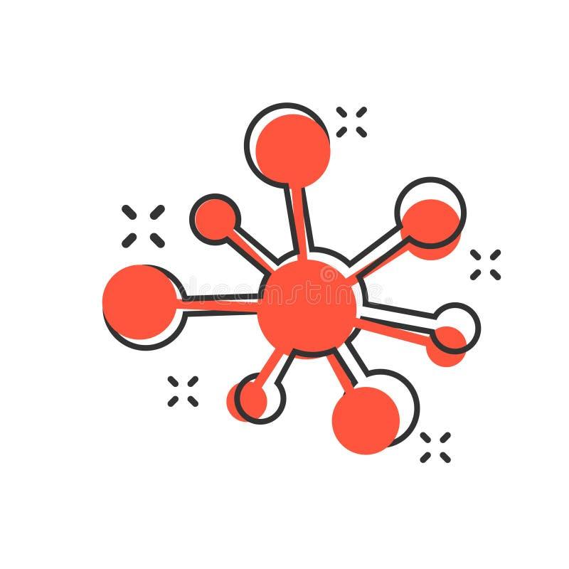 Centrum sieci związku znaka ikona w komiczka stylu Dna molekuły kreskówki wektorowa ilustracja na białym odosobnionym tle Atom ilustracji