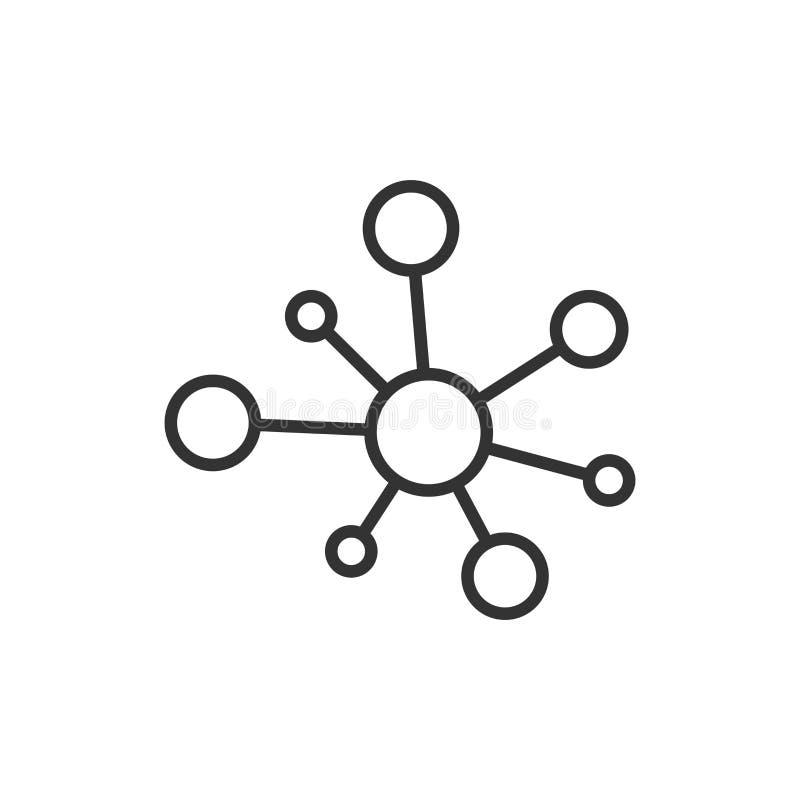 Centrum sieci związku znaka ikona w mieszkanie stylu Dna molekuły wektorowa ilustracja na białym odosobnionym tle Atomu biznes royalty ilustracja