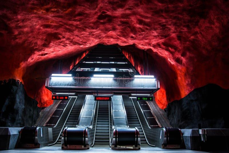 Centrum Solna станции метро в Стокгольме стоковая фотография