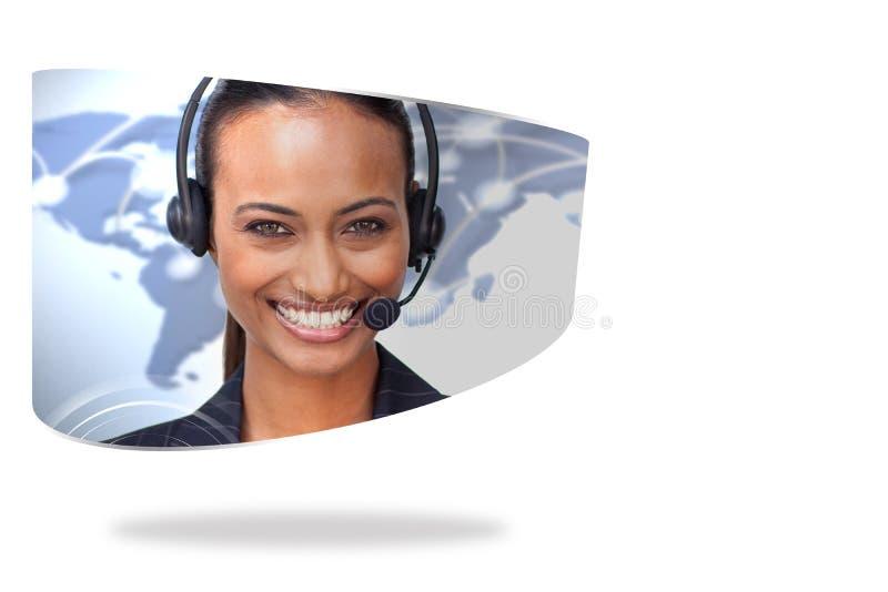 Centrum telefoniczne agent na abstrakta ekranie ilustracja wektor