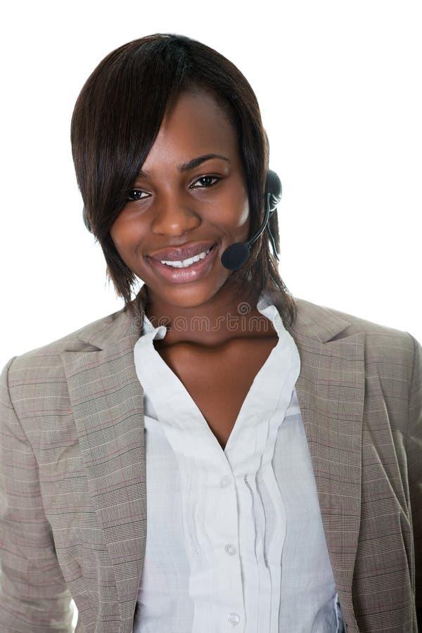 centrum telefoniczne biel wykonawczy żeński szczęśliwy obraz royalty free