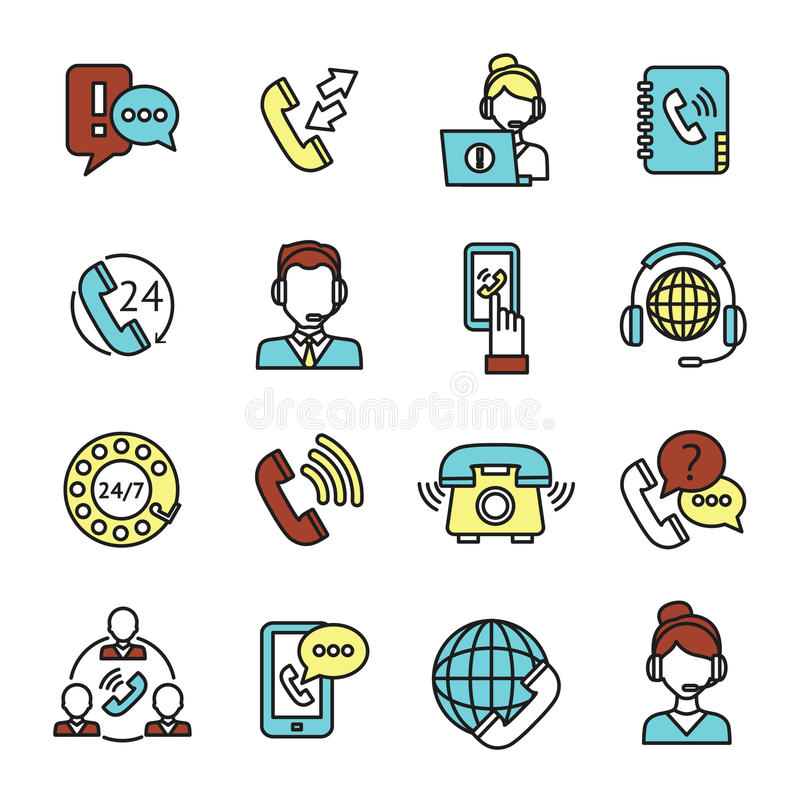 Centrum telefoniczne ikony ustawiać royalty ilustracja