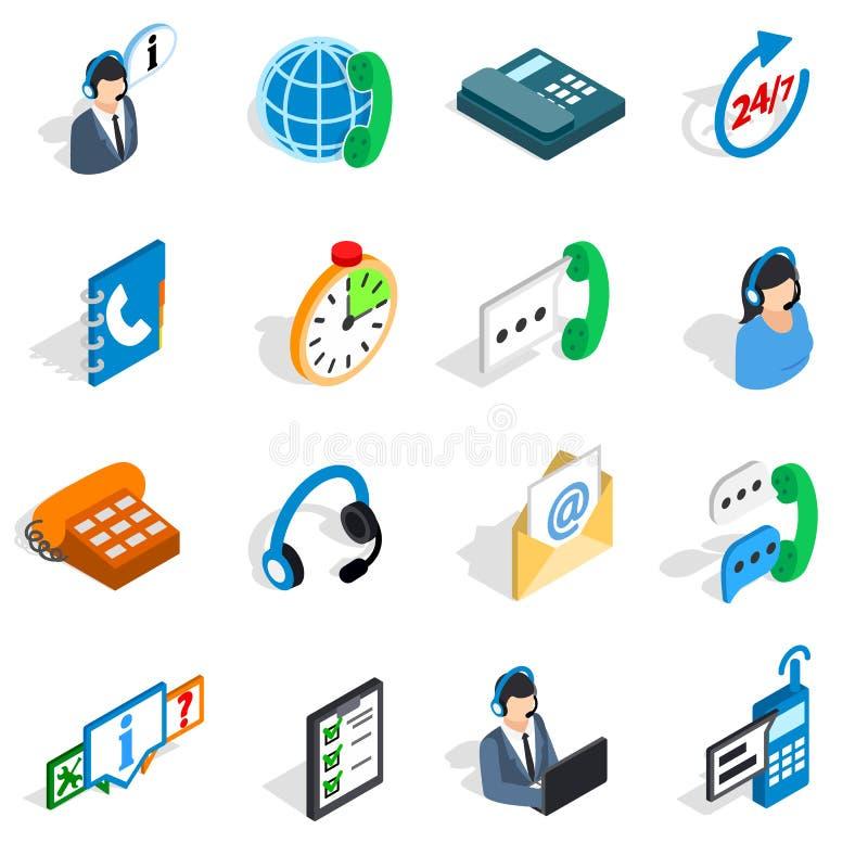 Centrum telefoniczne ikony ustawiać, isometric 3d styl royalty ilustracja