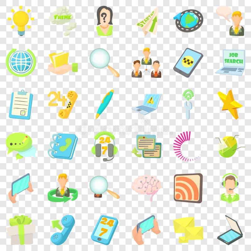 Centrum telefoniczne ikony ustawiać, kreskówka styl royalty ilustracja