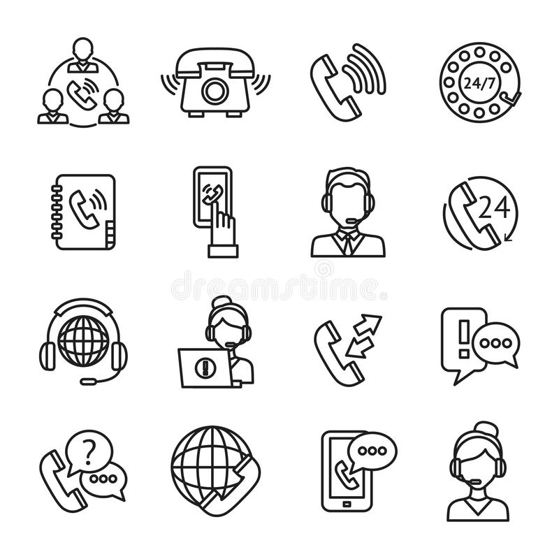 Centrum Telefoniczne konturu ikony Ustawiać ilustracja wektor