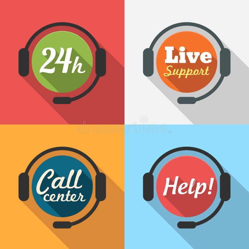Centrum Telefoniczne, obsługa klienta/24 godziny Wspieramy Płaską ikonę ilustracji