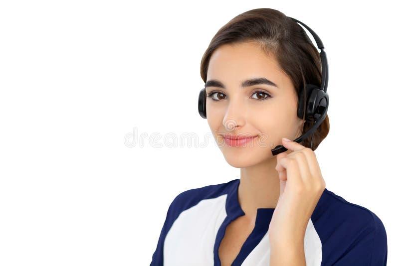 Centrum telefoniczne operator odizolowywający nad białym tłem Młody latynos lub latyno-amerykański kobiety w słuchawki zdjęcie royalty free