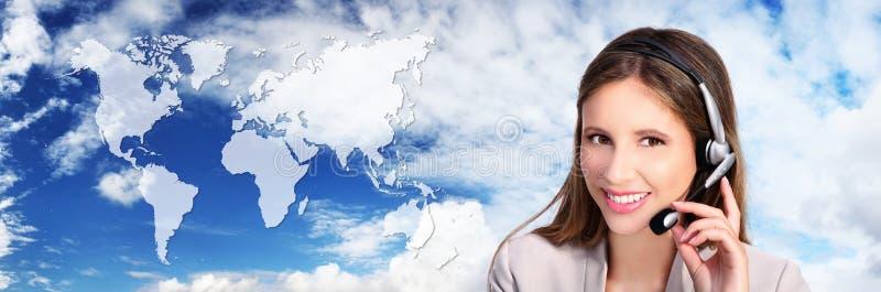Centrum telefoniczne operator z mapą, zawody międzynarodowi kontaktowy conc zdjęcie stock
