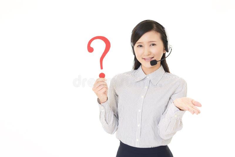 Centrum telefoniczne operator z znakiem zapytania fotografia stock