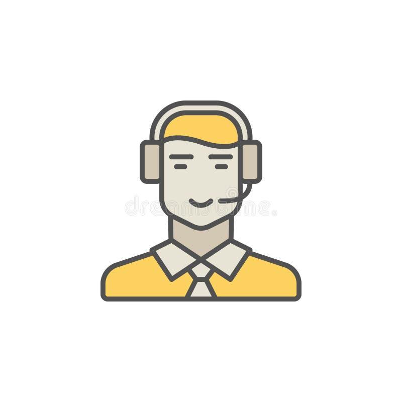 Centrum telefoniczne operatora kolorowa ikona Wektorowy mężczyzna w słuchawki creati ilustracji