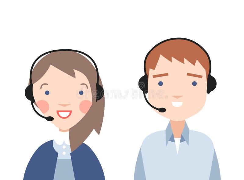 Centrum telefoniczne operatorzy ilustracja wektor
