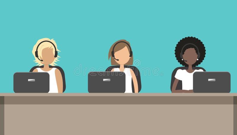 Centrum telefoniczne pracownicy w hełmofonach siedzą przy biurkiem ilustracji