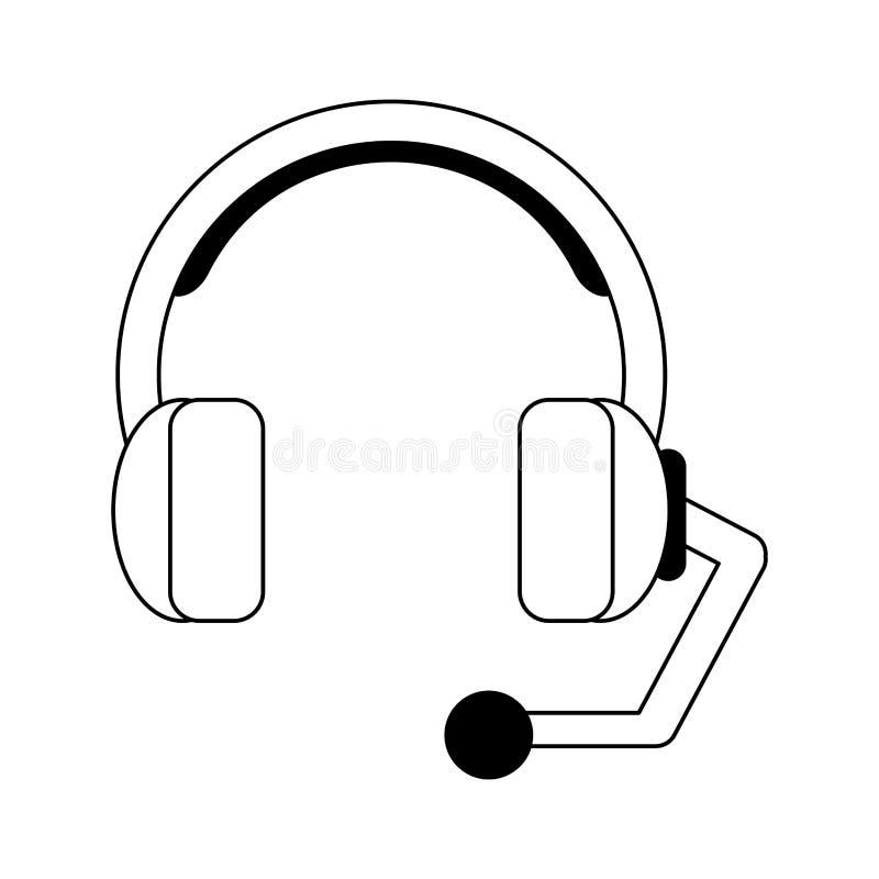 Centrum telefoniczne słuchawki symbol czarny i biały royalty ilustracja