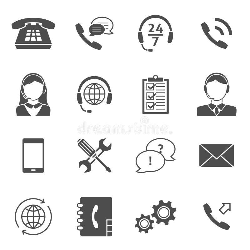 Centrum Telefoniczne Usługowe ikony ilustracja wektor