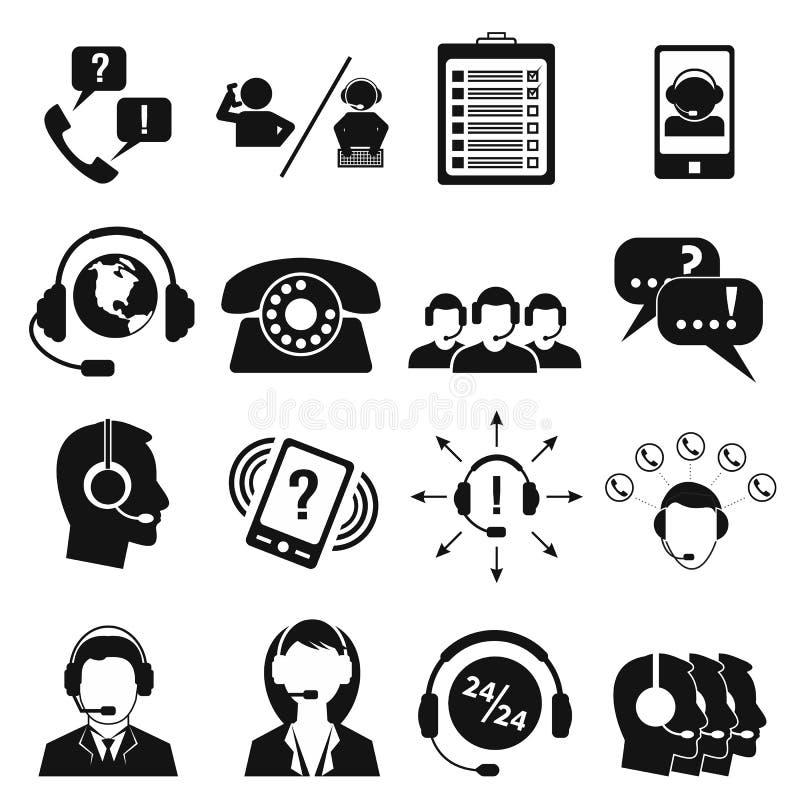 Centrum telefoniczne usługowe ikony ustawiać ilustracji