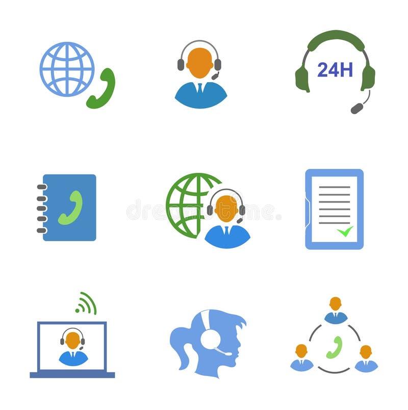Centrum telefoniczne usługowe ikony ustawiać kontakty mobilni ilustracji