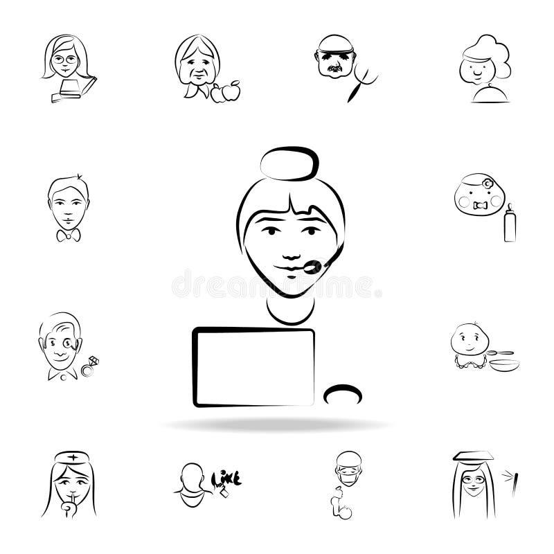 centrum telefonicznego avatar nakreślenia stylu ikona Szczegółowy set zawód w nakreślenie stylu ikonach Premia graficzny projekt  ilustracji