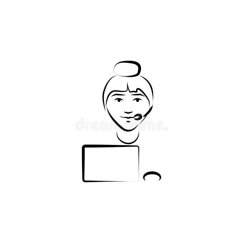 centrum telefonicznego avatar nakreślenia stylu ilustracja Element zawody dla mobilnych pojęcia i sieci apps ilustracyjnych Ilust ilustracja wektor